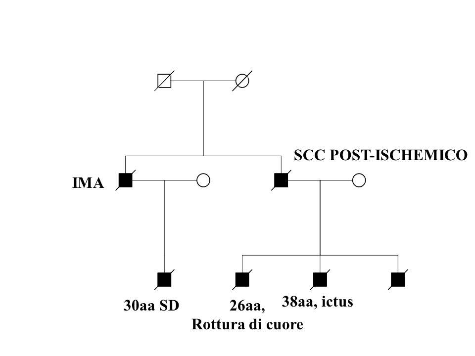 SCC POST-ISCHEMICO IMA 38aa, ictus 30aa SD 26aa, Rottura di cuore