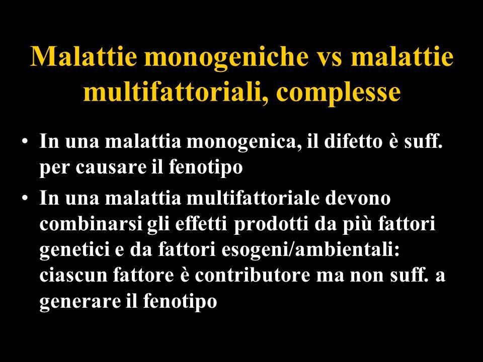 Malattie monogeniche vs malattie multifattoriali, complesse