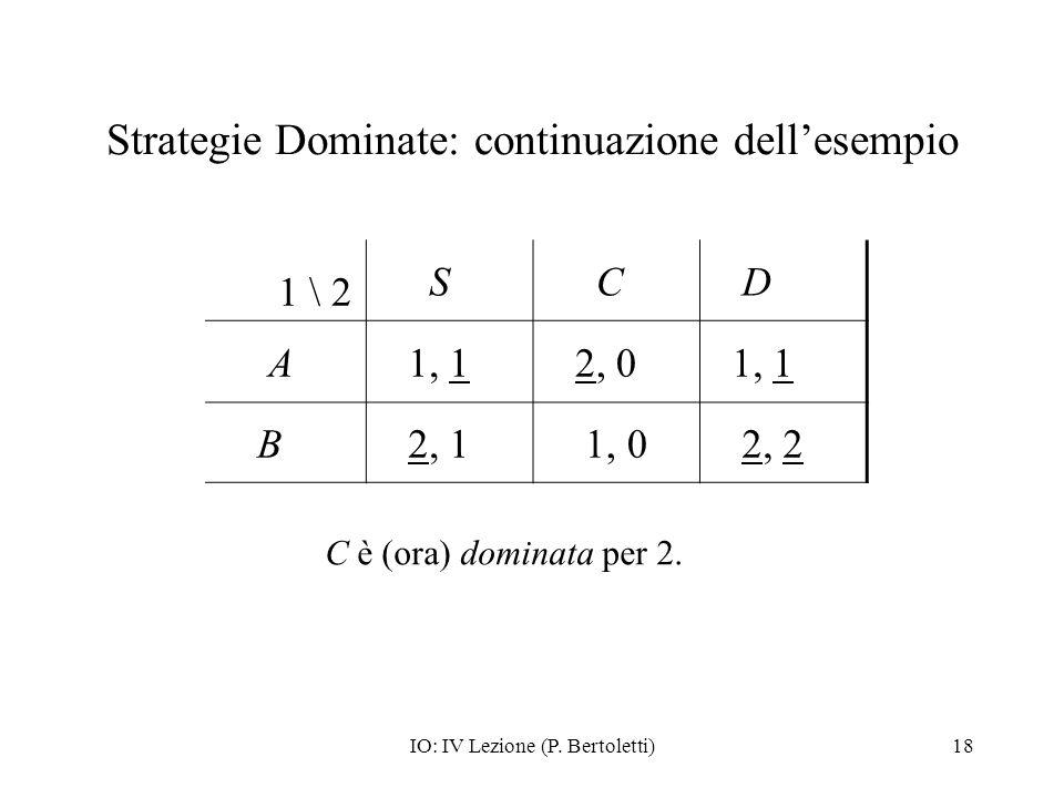 Strategie Dominate: continuazione dell'esempio