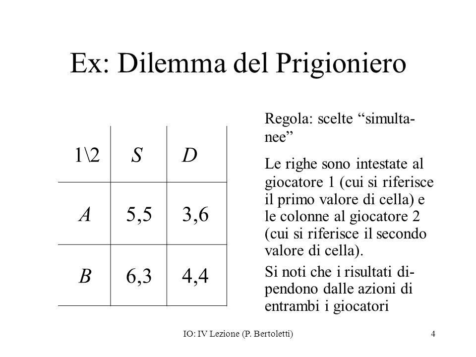 Ex: Dilemma del Prigioniero