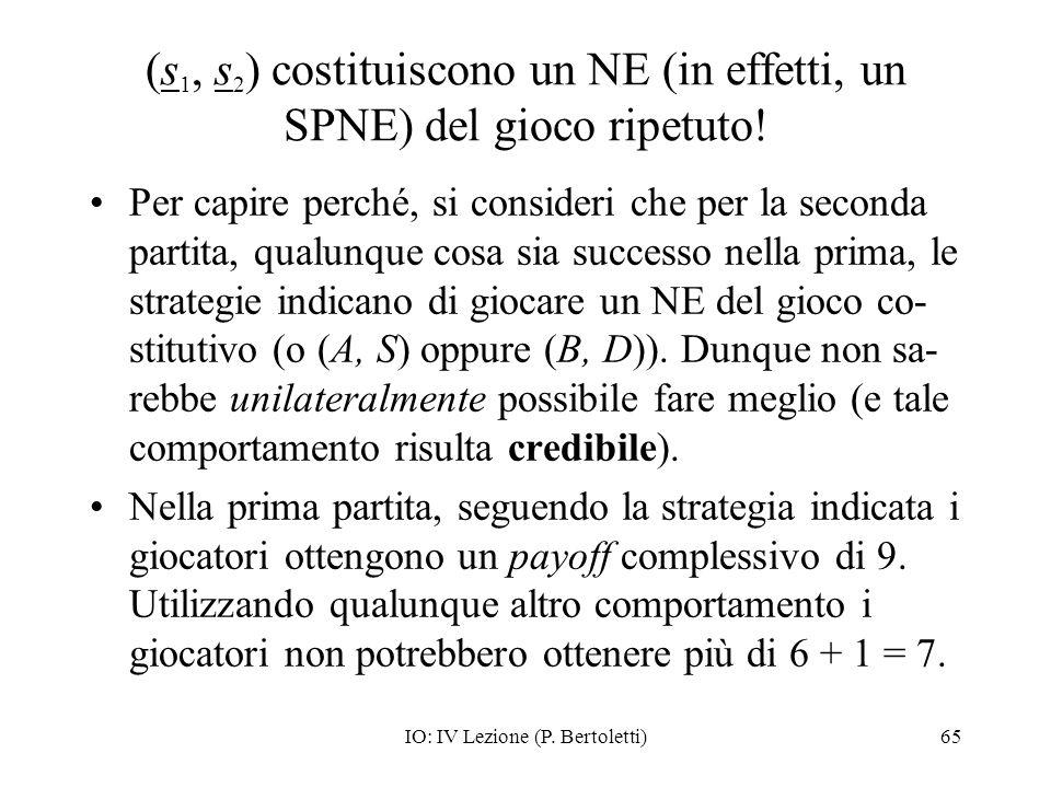 (s1, s2) costituiscono un NE (in effetti, un SPNE) del gioco ripetuto!