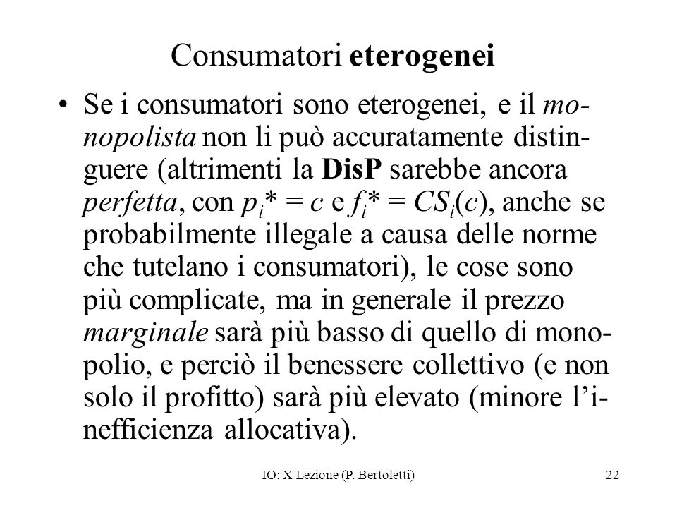 Consumatori eterogenei