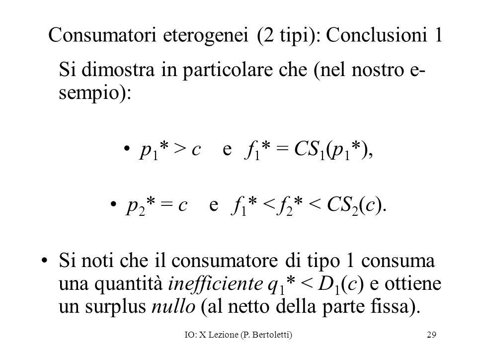 Consumatori eterogenei (2 tipi): Conclusioni 1