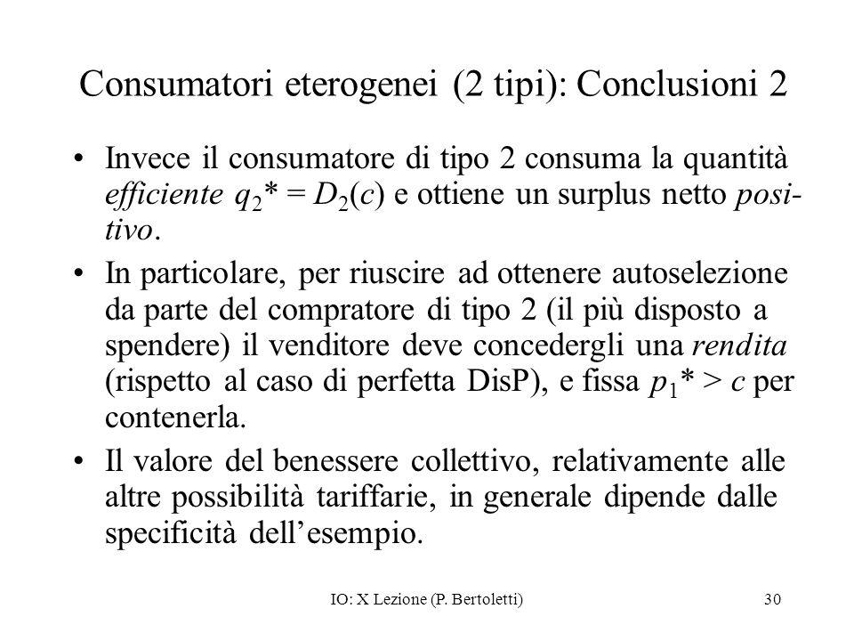 Consumatori eterogenei (2 tipi): Conclusioni 2