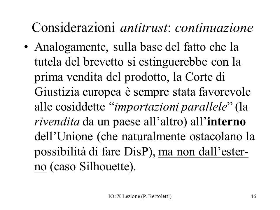 Considerazioni antitrust: continuazione