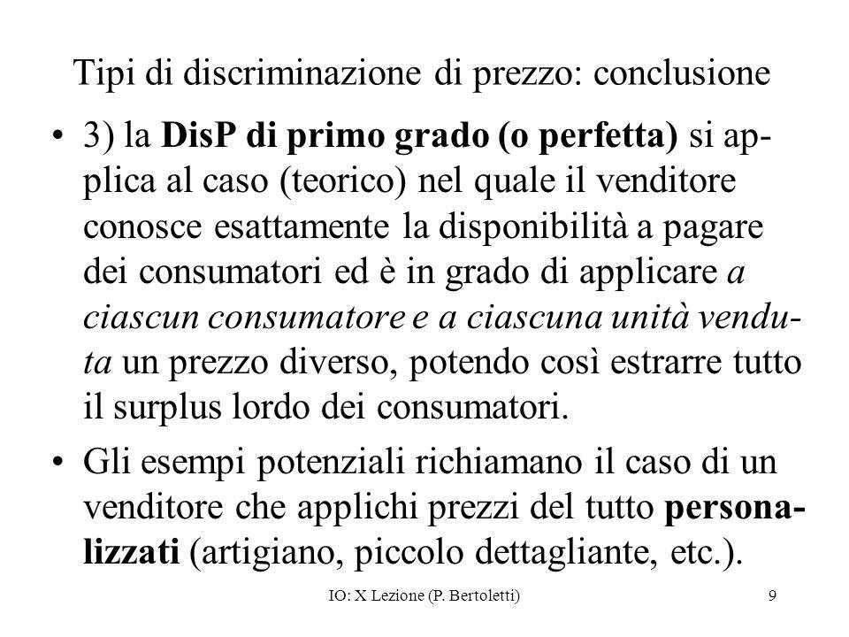 Tipi di discriminazione di prezzo: conclusione