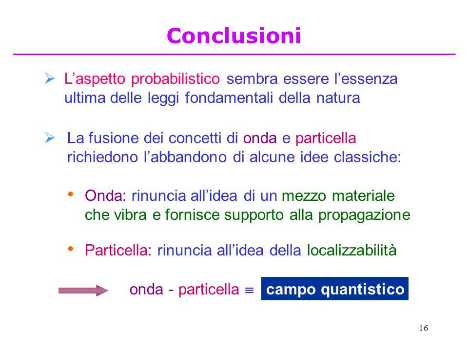 Conclusioni L'aspetto probabilistico sembra essere l'essenza ultima delle leggi fondamentali della natura.