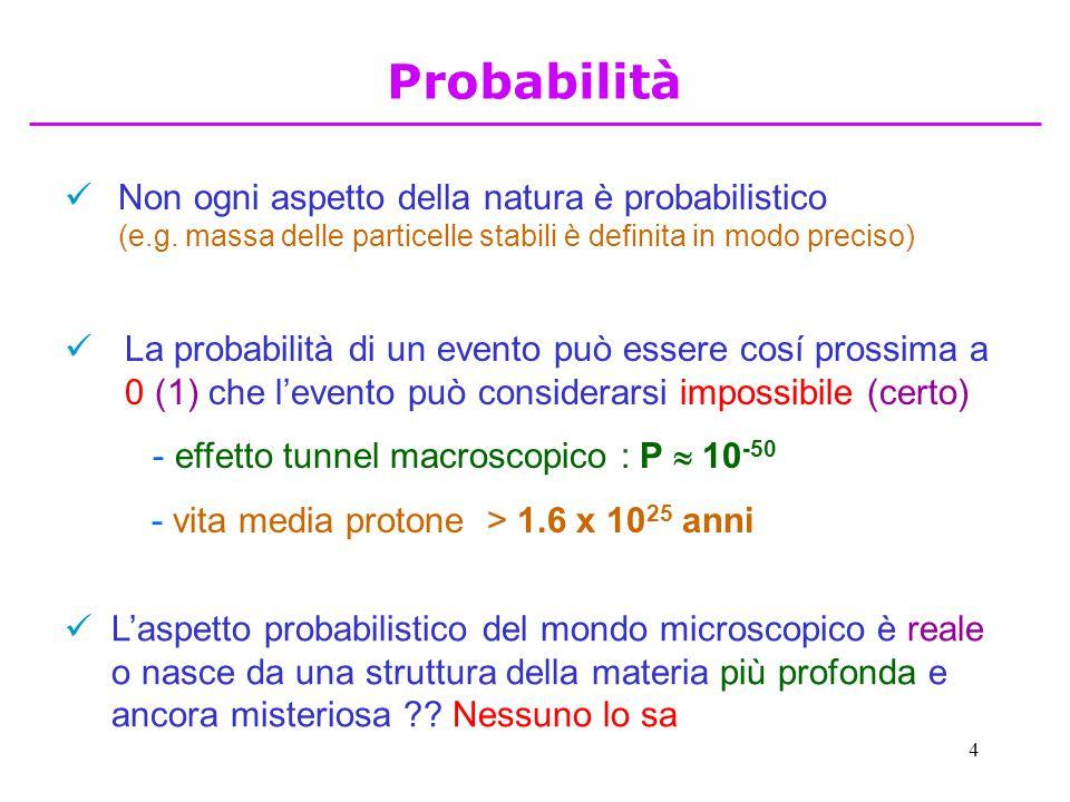 Probabilità Non ogni aspetto della natura è probabilistico (e.g. massa delle particelle stabili è definita in modo preciso)