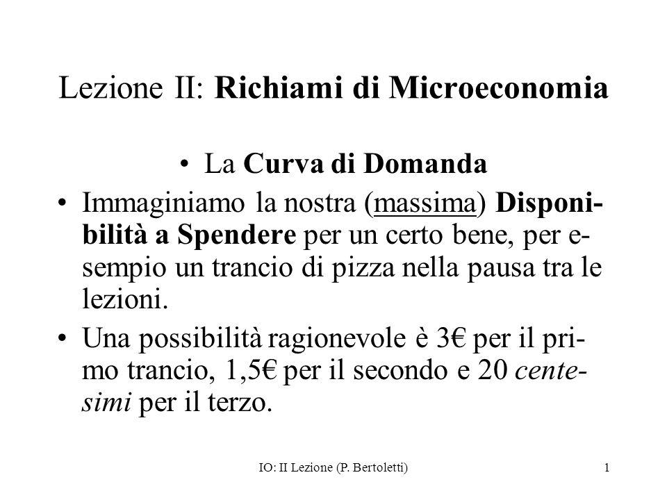 Lezione II: Richiami di Microeconomia