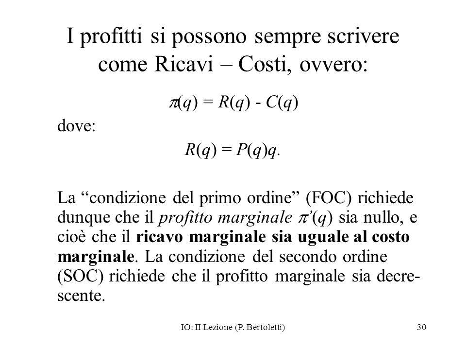 I profitti si possono sempre scrivere come Ricavi – Costi, ovvero: