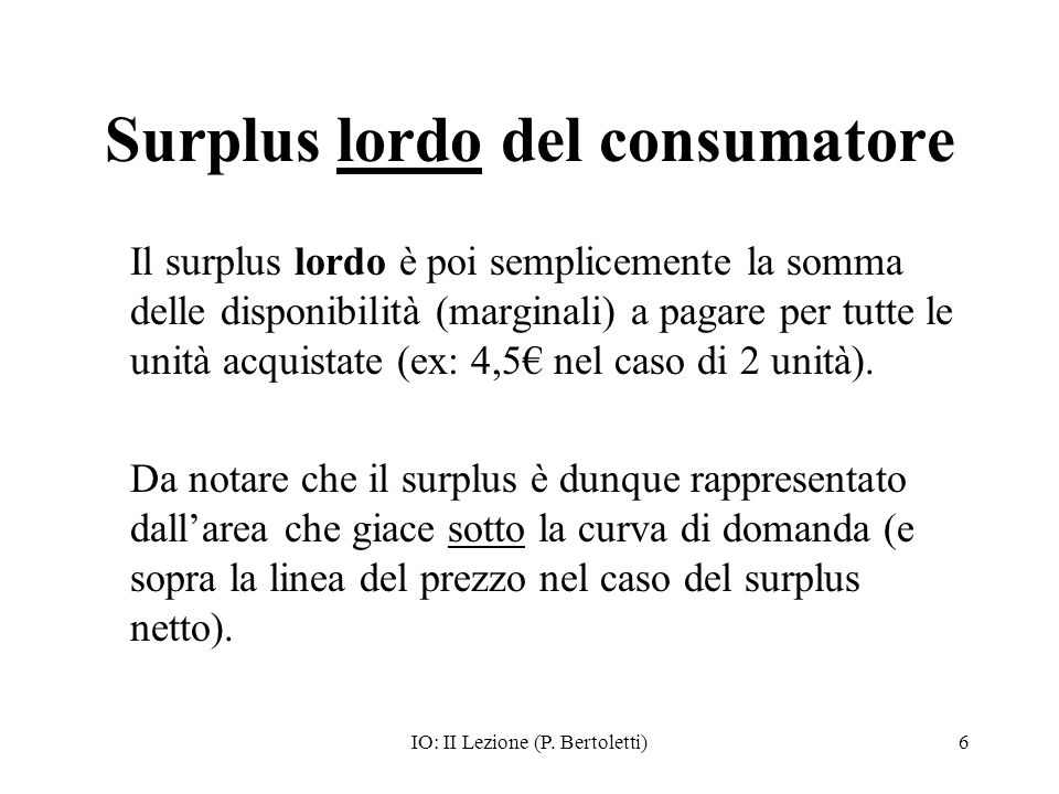 Surplus lordo del consumatore