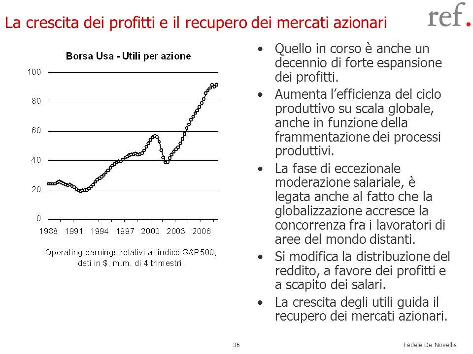 La crescita dei profitti e il recupero dei mercati azionari