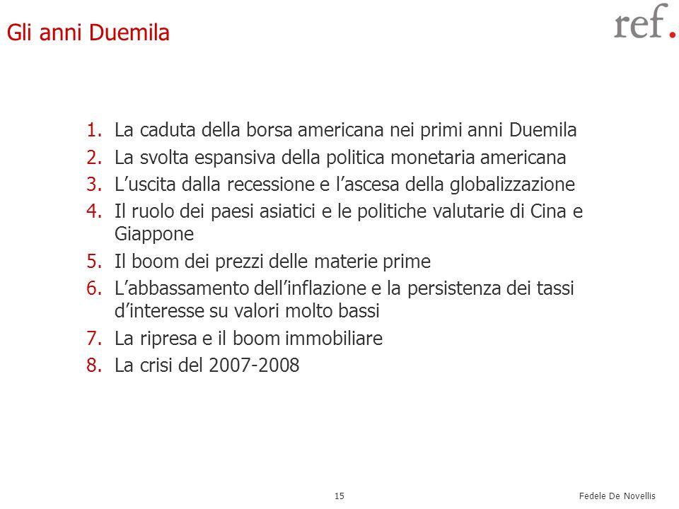 Gli anni Duemila La caduta della borsa americana nei primi anni Duemila. La svolta espansiva della politica monetaria americana.