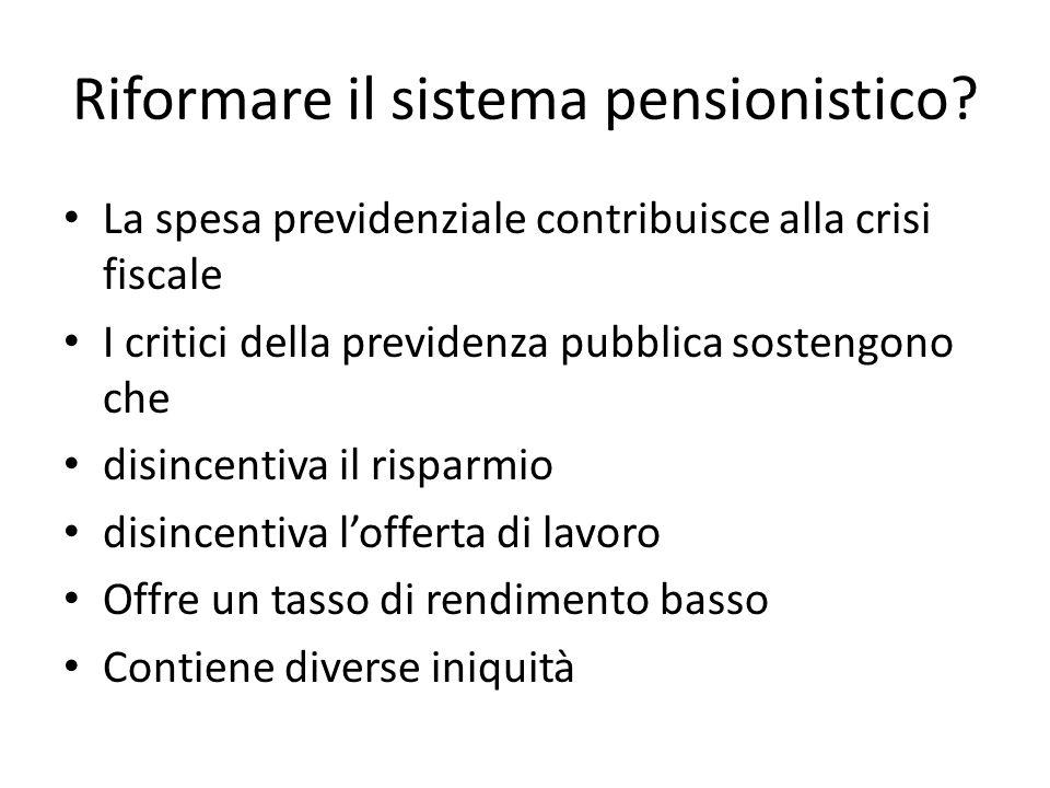 Riformare il sistema pensionistico