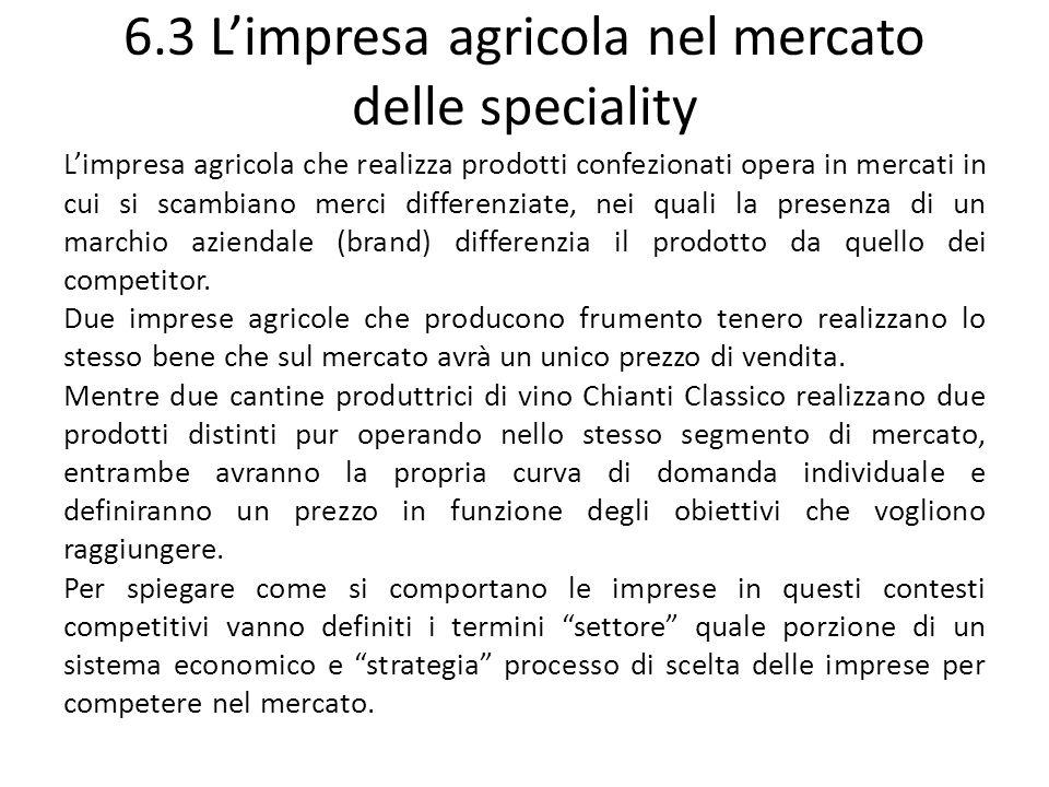 6.3 L'impresa agricola nel mercato delle speciality
