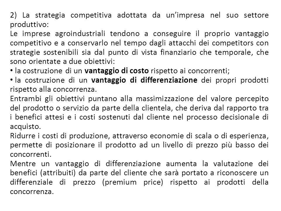 2) La strategia competitiva adottata da un'impresa nel suo settore produttivo: