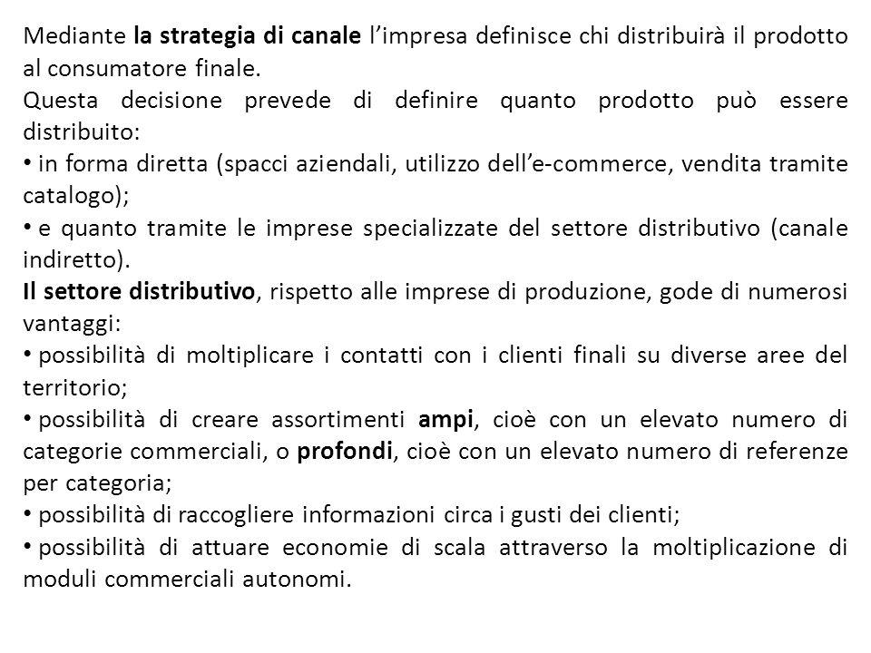 Mediante la strategia di canale l'impresa definisce chi distribuirà il prodotto al consumatore finale.
