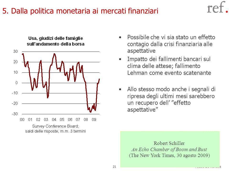 5. Dalla politica monetaria ai mercati finanziari