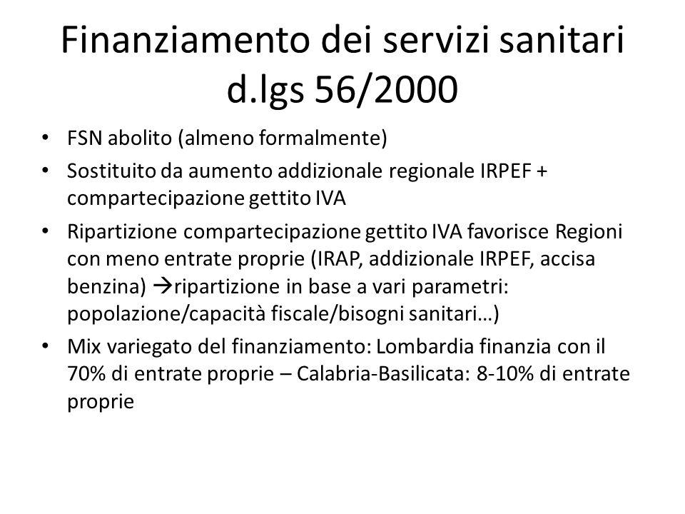 Finanziamento dei servizi sanitari d.lgs 56/2000