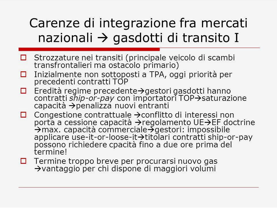 Carenze di integrazione fra mercati nazionali  gasdotti di transito I