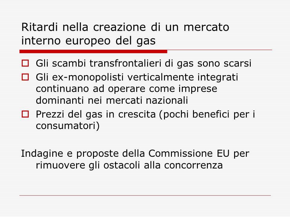 Ritardi nella creazione di un mercato interno europeo del gas