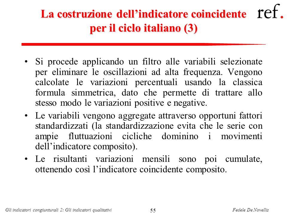 La costruzione dell'indicatore coincidente per il ciclo italiano (3)