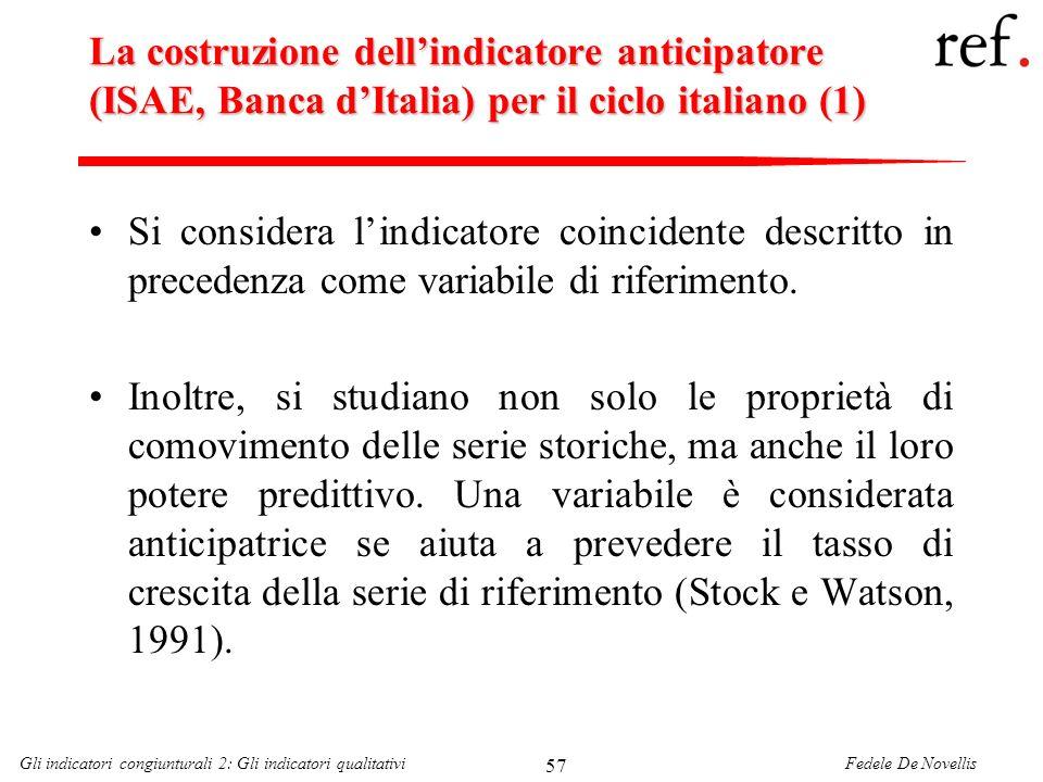 La costruzione dell'indicatore anticipatore (ISAE, Banca d'Italia) per il ciclo italiano (1)