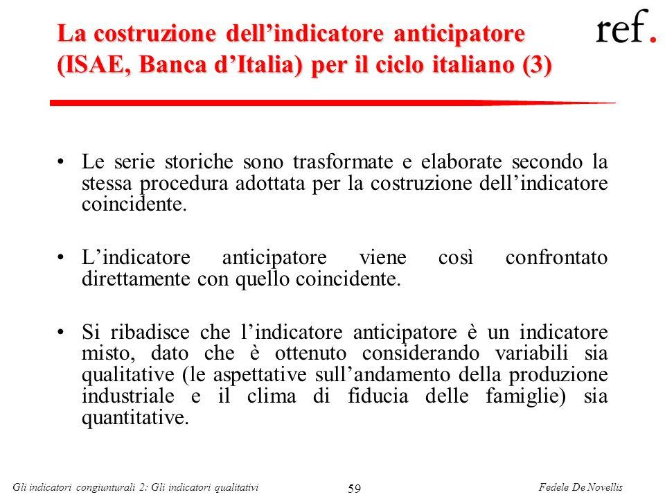 La costruzione dell'indicatore anticipatore (ISAE, Banca d'Italia) per il ciclo italiano (3)