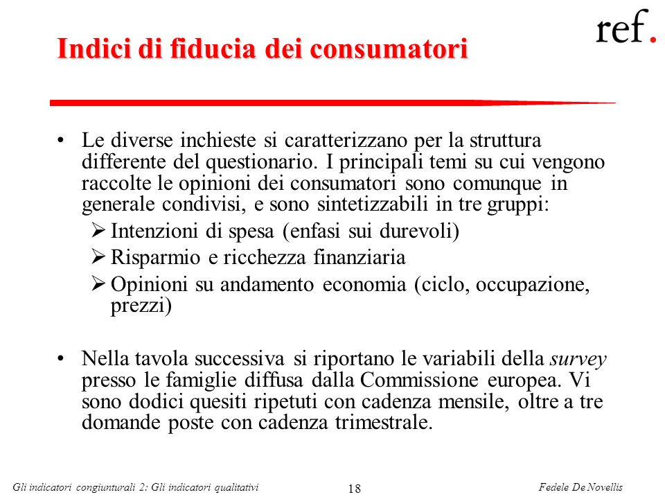 Indici di fiducia dei consumatori