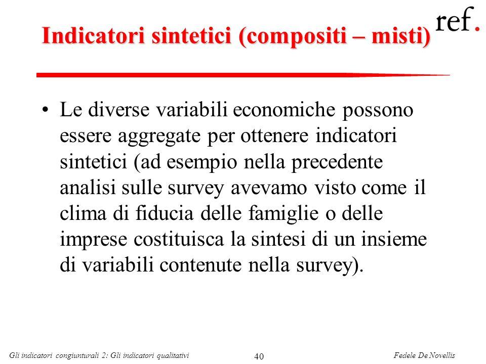 Indicatori sintetici (compositi – misti)
