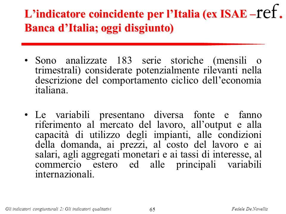 L'indicatore coincidente per l'Italia (ex ISAE – Banca d'Italia; oggi disgiunto)