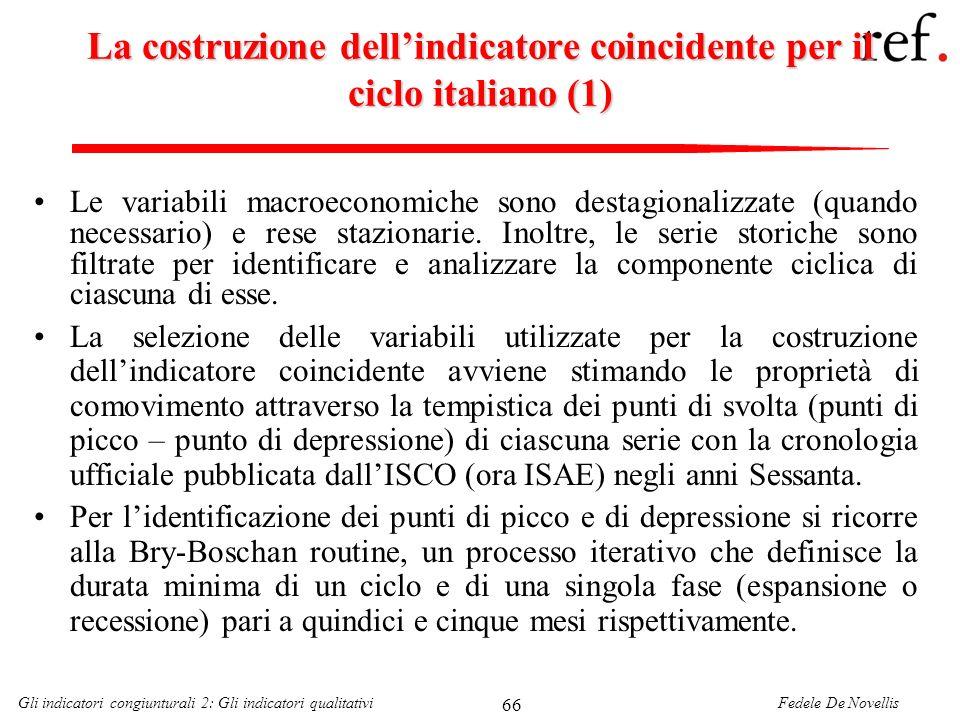 La costruzione dell'indicatore coincidente per il ciclo italiano (1)