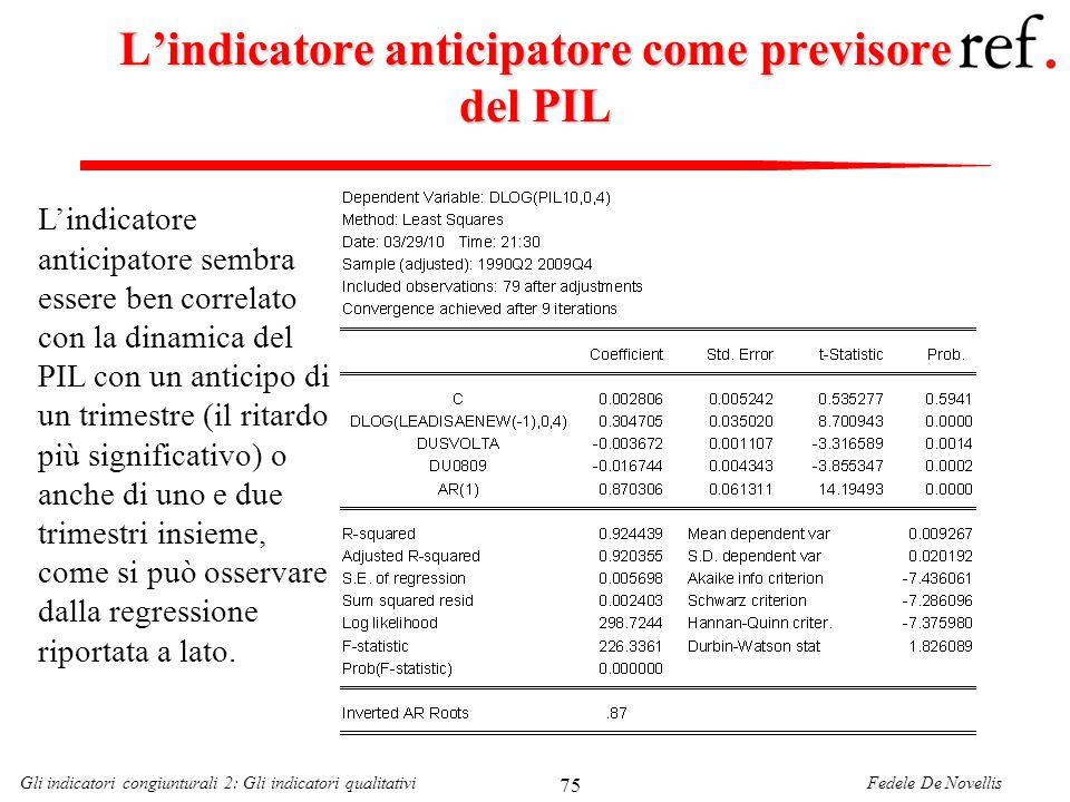 L'indicatore anticipatore come previsore del PIL