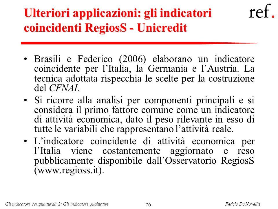 Ulteriori applicazioni: gli indicatori coincidenti RegiosS - Unicredit