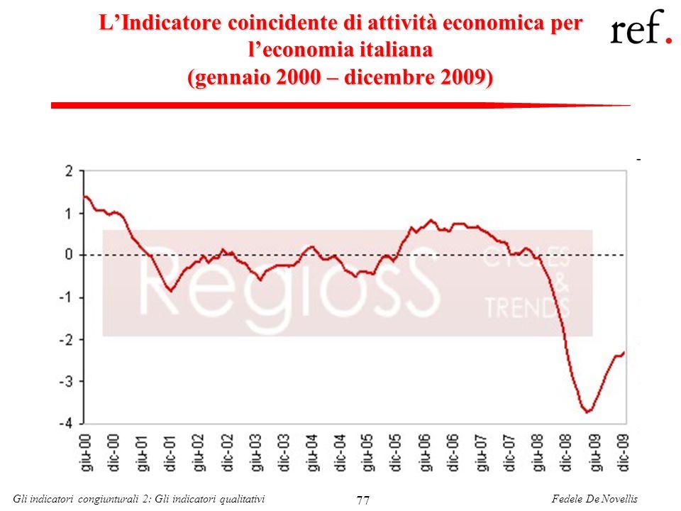L'Indicatore coincidente di attività economica per l'economia italiana (gennaio 2000 – dicembre 2009)