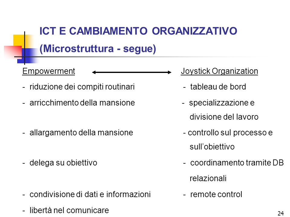 ICT E CAMBIAMENTO ORGANIZZATIVO (Microstruttura - segue)