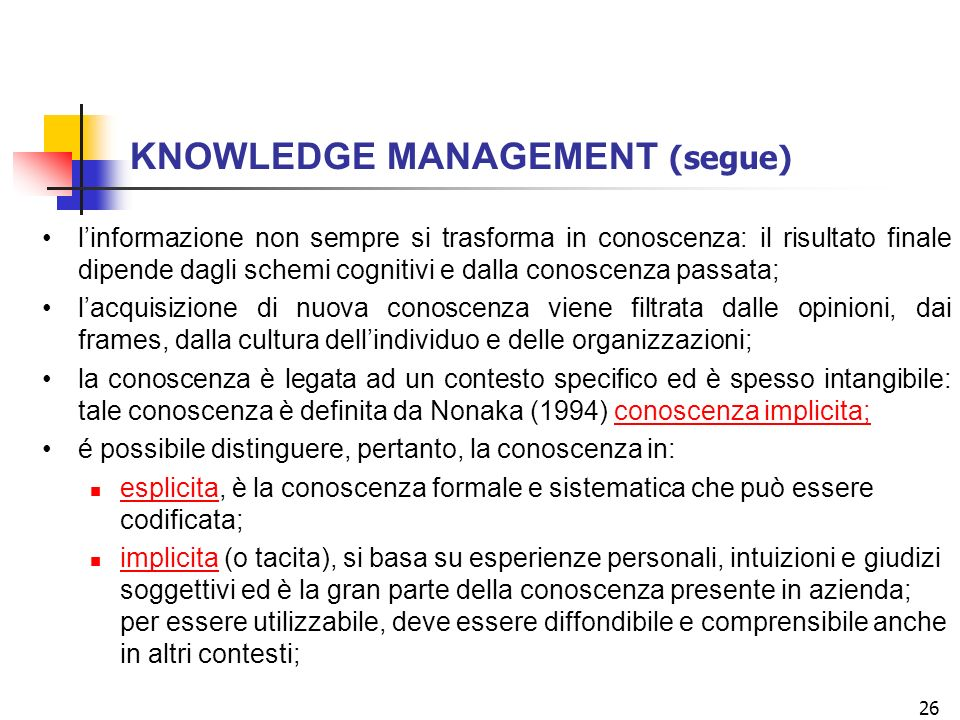 KNOWLEDGE MANAGEMENT (segue)