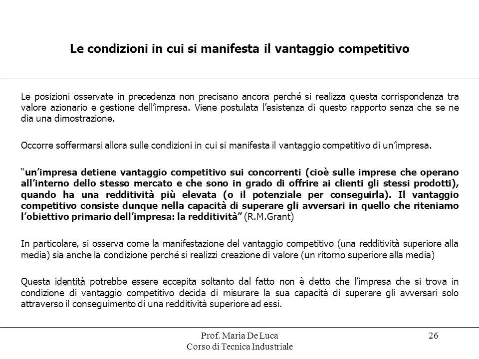 Le condizioni in cui si manifesta il vantaggio competitivo