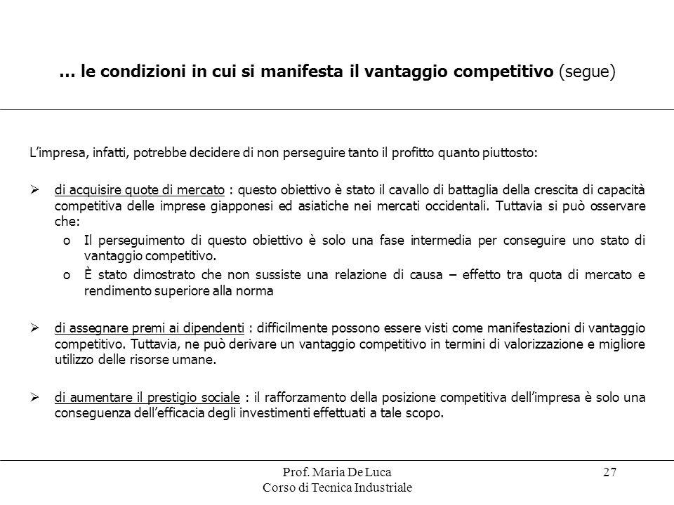 … le condizioni in cui si manifesta il vantaggio competitivo (segue)