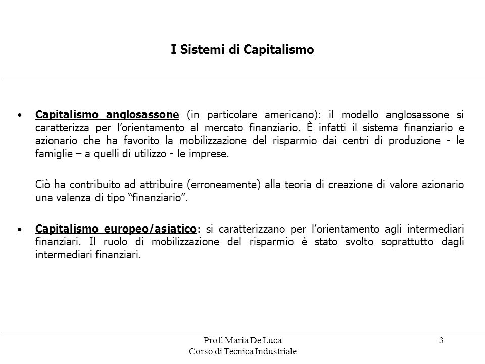 I Sistemi di Capitalismo