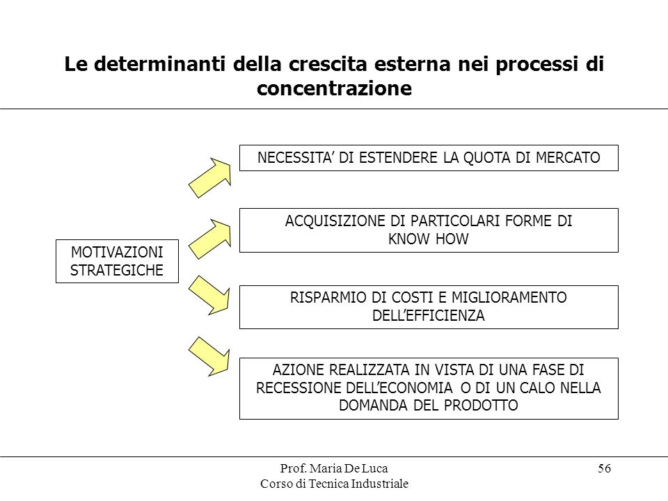 Le determinanti della crescita esterna nei processi di concentrazione