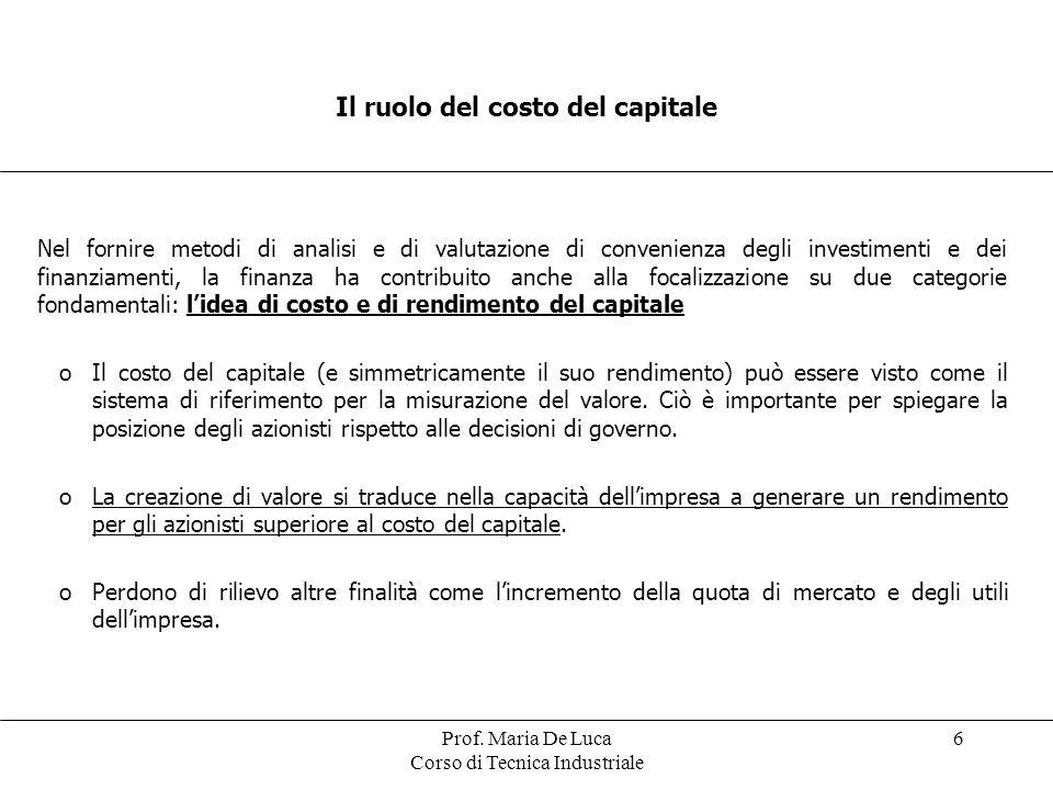 Il ruolo del costo del capitale