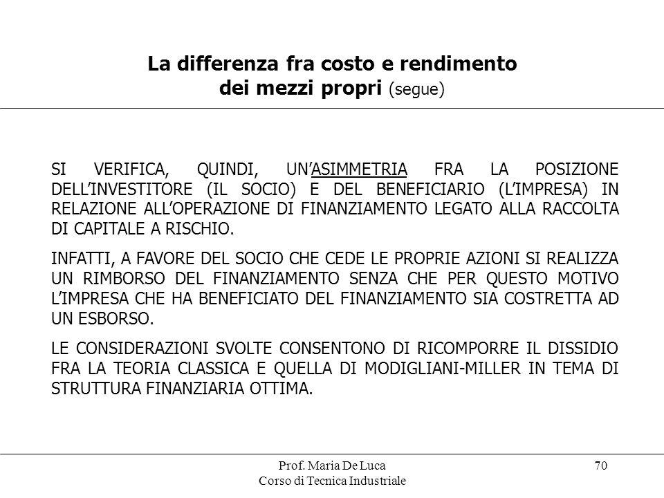 La differenza fra costo e rendimento dei mezzi propri (segue)