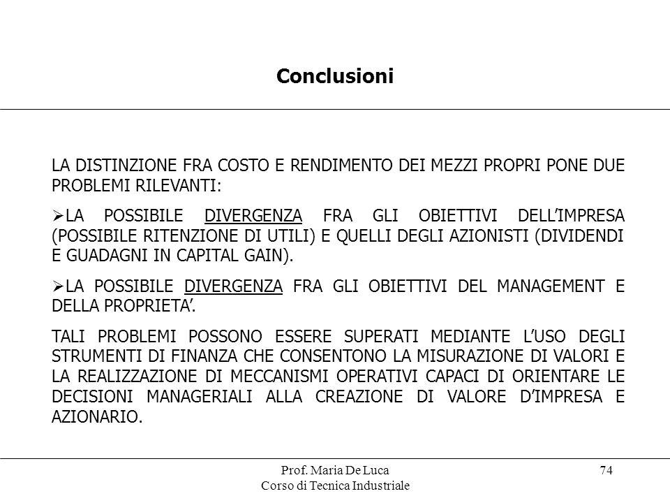 Prof. Maria De Luca Corso di Tecnica Industriale