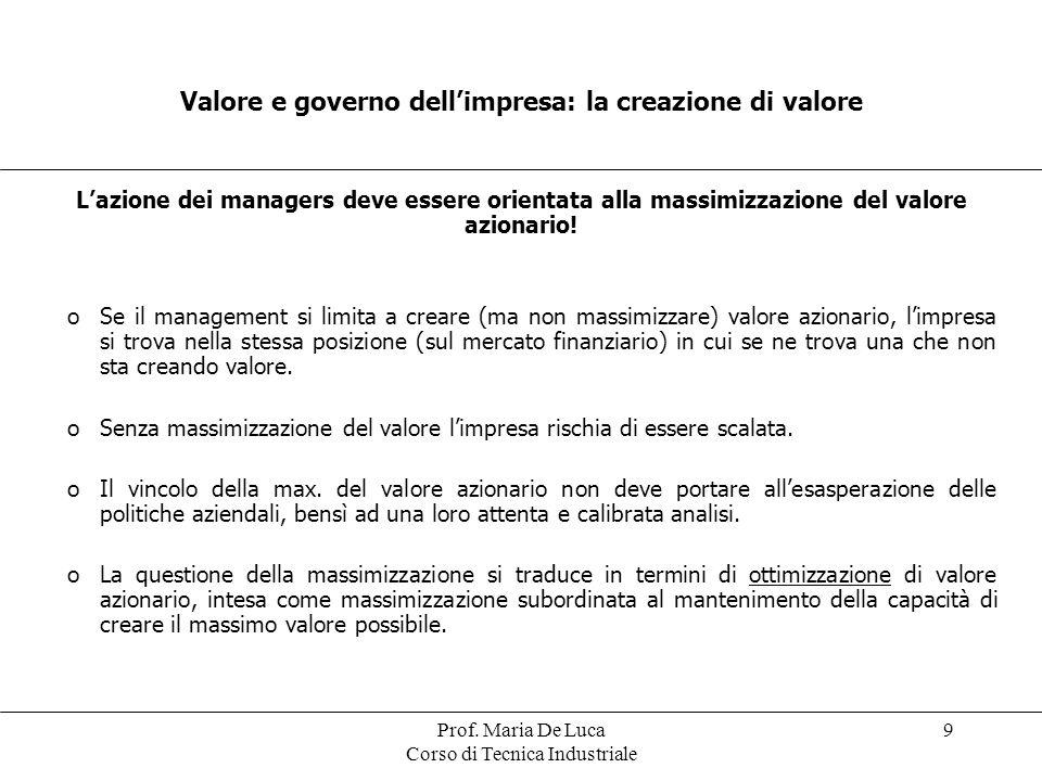 Valore e governo dell'impresa: la creazione di valore