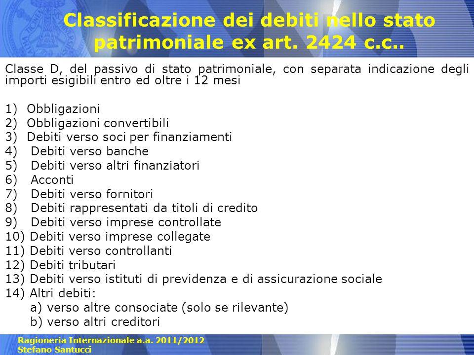 Classificazione dei debiti nello stato patrimoniale ex art. 2424 c.c..