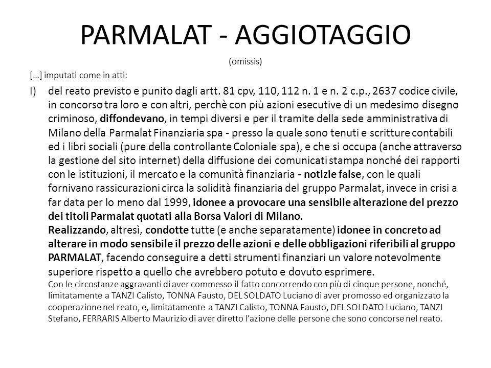 PARMALAT - AGGIOTAGGIO
