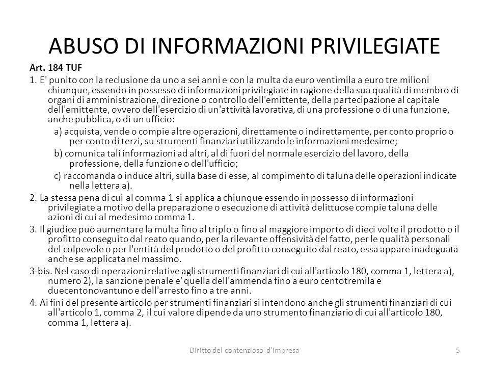 ABUSO DI INFORMAZIONI PRIVILEGIATE
