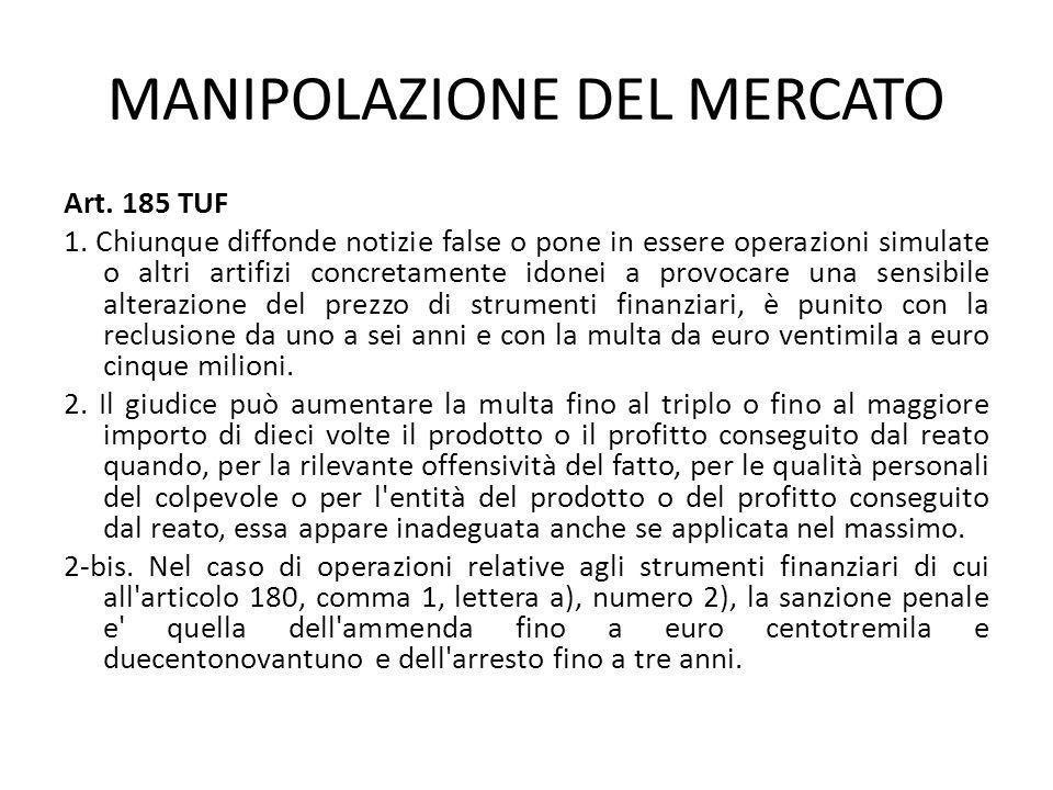 MANIPOLAZIONE DEL MERCATO