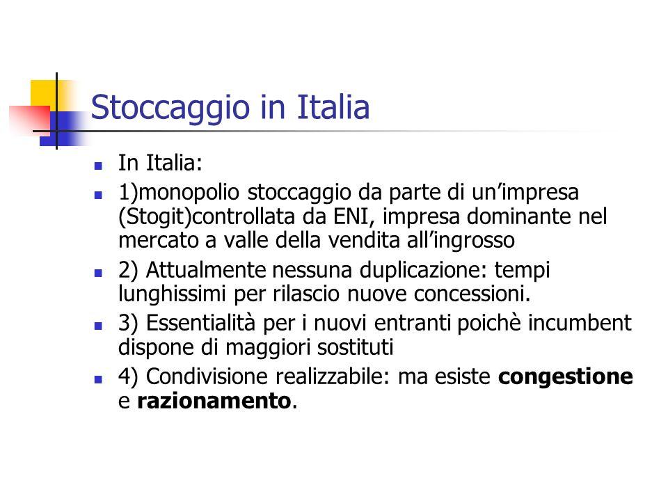 Stoccaggio in Italia In Italia: